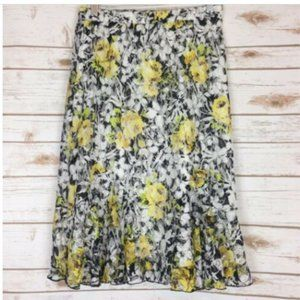 Christopher & Banks Skirt Floral Lined Elastic